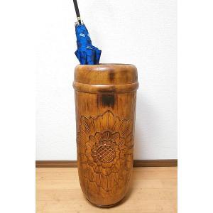 傘立て スリム おしゃれ アンティーク 木製 ブラウン アート ウッド 花柄 アジアン バリ タイ 雑貨 エスニック 木彫り インテリア 送料無料|angkasa