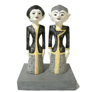 【現品限り】 木彫り ロロブロニョ人形 男女 ペア セット アンティーク調 木製 [H.約35.5cm] おしゃれな 置物 エスニック アジアン バリ タイ 雑貨 インテリア|angkasa