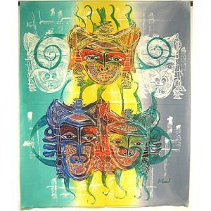 現代アートバティック 縦 M マスク 5連 アジアン雑貨 バリ雑貨  バティック布 エスニック|angkasa
