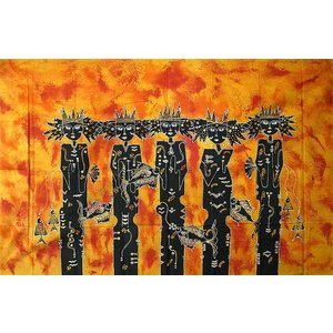 現代アートバティック 横 L『豊漁の女神』オレンジ 148x94cm アジアン雑貨 バリ雑貨 バティック布 エスニック|angkasa