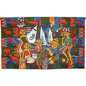 現代アートバティック 横 L 船と少年たち アジアン雑貨 バリ雑貨 バティック布 エスニック|angkasa