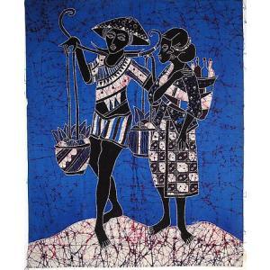 現代アートバティック 縦 M 農村の男と女 青 アジアン雑貨 バリ雑貨  バティック布 エスニック|angkasa
