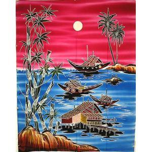 現代アートバティック 縦 M バンブーと海、帆船 ピンク アジアン雑貨 バリ雑貨  バティック布 エスニック|angkasa
