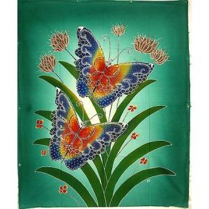 現代アートバティック 縦 M 花と2羽の蝶々 グリーン アジアン雑貨 バリ雑貨  バティック布 エスニック|angkasa