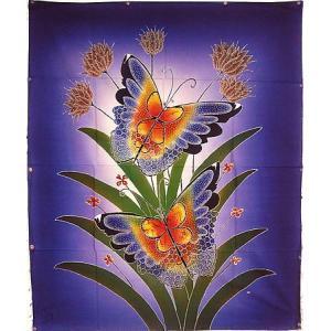 現代アートバティック 縦 M 花と2羽の蝶々 青 アジアン雑貨 バリ雑貨 バティック布 エスニック|angkasa