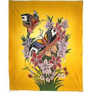 現代アートバティック 縦 M 花と2羽の蝶々 B 黄  アジアン雑貨 バリ雑貨  バティック布 エスニック|angkasa