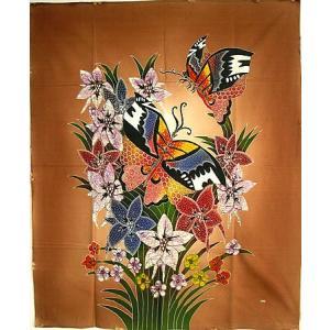 現代アートバティック 縦 M 花と2羽の蝶々 ブラウン アジアン雑貨 バリ雑貨 バティック布 エスニック|angkasa
