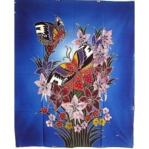 現代アートバティック 縦 M 花と2羽の蝶々 ブルー アジアン雑貨 バリ雑貨  バティック布 エスニック |angkasa