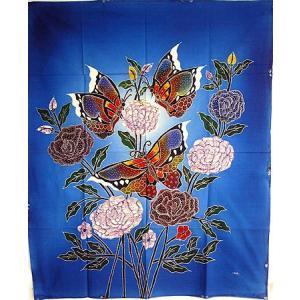 現代アートバティック 縦 M 花と3羽の蝶々 ブルー アジアン雑貨 バリ雑貨  バティック布 エスニック|angkasa