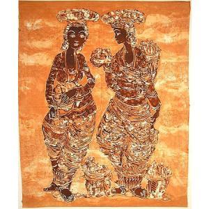 現代アートバティック 縦 M 二人の女 74x94cm アジアン雑貨 バリ雑貨  バティック布 エスニック|angkasa