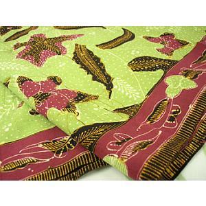 バティック チルボン グラスグリーン エンジ アジアン雑貨 バリ雑貨 バティック布 エスニック|angkasa