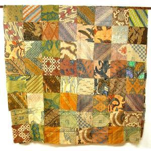 オールドバティックのパッチワーク 布地 ブラウン系 アジアン雑貨 バリ雑貨 バティック布 エスニック|angkasa
