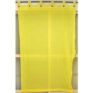 コットンガーゼのアジアンカーテン イエロー 丈.約190cmx幅.120cm アジアン雑貨 バリ雑貨 タイ エスニック おしゃれなカーテン |angkasa
