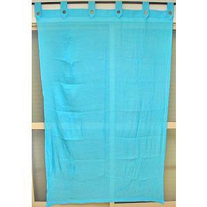 コットンガーゼのアジアンカーテン スカイブルー 丈.約190cmx幅.120cm アジアン雑貨 バリ雑貨 タイ エスニック おしゃれなカーテン|angkasa