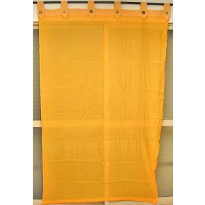 コットンガーゼのアジアンカーテン オレンジ 丈.約190cmx幅.120cm アジアン雑貨 バリ雑貨 タイ エスニック おしゃれなカーテン 目隠し |angkasa