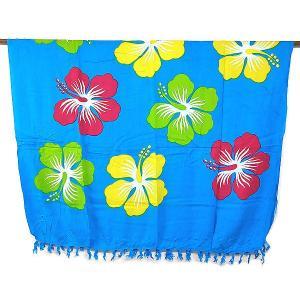パレオ更紗 マルチクロス 花柄 ハイビスカス ブルー アジアン バリ タイ 雑貨 エスニック 布 水着 ソファーカバー ラグ|angkasa