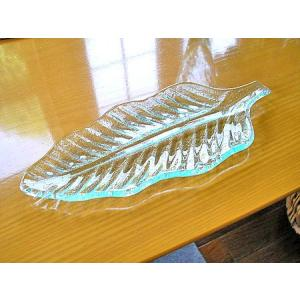 リーフのガラス皿 25cm アジアン雑貨 バリ雑貨 エスニック おしゃれな ガラス大皿|angkasa