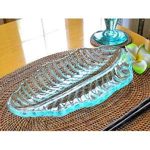 リーフのガラス皿 ボウル皿 [約25cm] アジアン雑貨 バリ雑貨 エスニック おしゃれな ガラス大皿|angkasa