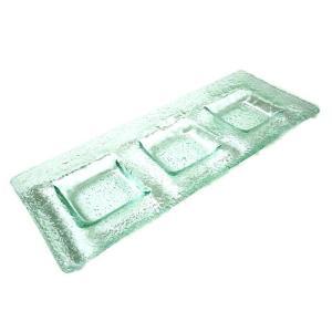 ガラスの皿 角皿 3連調味料入れ 23cm アジアン雑貨 バリ雑貨 エスニック おしゃれな ガラス皿|angkasa