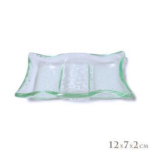 ガラスの小皿 角皿 2連調味料入れ 12cm アジアン雑貨 バリ雑貨 エスニック おしゃれな ガラス皿|angkasa