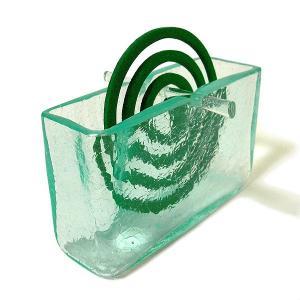 ガラスの蚊取り線香ホルダー クリアガラス 模様入り アジアン雑貨 バリ雑貨 エスニック おしゃれな ガラス 蚊取り線香入れ|angkasa