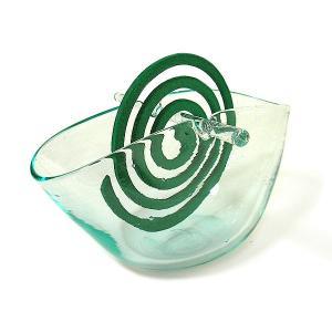 ガラスの蚊取り線香ホルダー クリアガラス ワイド アジアン雑貨 バリ雑貨 エスニック おしゃれな ガラス 蚊取り線香入れ|angkasa