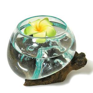 天然木とガラスのフラワーポット クリアー A [H.約15cm] アジアン雑貨 バリ雑貨 エスニック おしゃれな ガラス|angkasa
