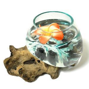 天然木とガラスのフラワーポット クリアー B [H.約14cm] アジアン雑貨 バリ雑貨 エスニック おしゃれな ガラス|angkasa