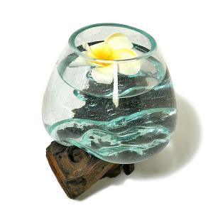 天然木とガラスのフラワーポット クリアー C [H.約18cm] アジアン雑貨 バリ雑貨 エスニック おしゃれな ガラス|angkasa