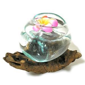 天然木とガラスのフラワーポット クリアー D [H.約14cm] アジアン雑貨 バリ雑貨 エスニック おしゃれな ガラス|angkasa