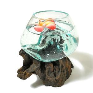 天然木とガラスのフラワーポット クリアー E [H.約15.5cm] アジアン雑貨 バリ雑貨 エスニック おしゃれな ガラス|angkasa