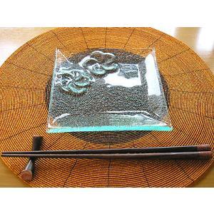 フランジパニ2輪 ガラス皿 16x16cm アジアン雑貨 バリ雑貨 エスニック おしゃれな ガラス皿|angkasa