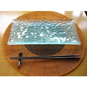 ランジパニ ガラス皿 28x14cm 磨りガラス アジアン雑貨 バリ雑貨 エスニック おしゃれな ガラス皿|angkasa