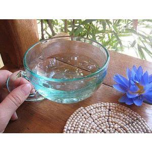 ガラスのティーカップ 直径11cm アジアン雑貨 バリ雑貨 エスニック おしゃれな ガラス カップ|angkasa