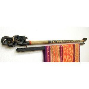 イカットハンガー ダブル B [80cm] 木彫り バンブー アジアン雑貨 バリ雑貨 タイ エスニック おしゃれなハンガー|angkasa