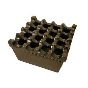 アジアン雑貨 バリ雑貨 波型デザインの四角いアルミ製灰皿 ブロンズ アッシュトレイ[直径約9cm]ローカル品|angkasa