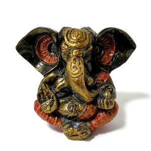 ガネーシャ置物 アンティークゴールド×パープル GANESHA 神ガネーシャ[H.約13cm] アジアン雑貨 バリ雑貨 タイ雑貨 |angkasa