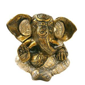 ガネーシャ置物 アンティークゴールド×シルバー GANESHA 神ガネーシャ[H.約13cm] アジアン雑貨 バリ雑貨 タイ雑貨 |angkasa