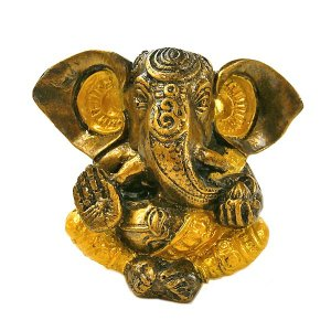 ガネーシャ置物 アンティークゴールド×ゴールド GANESHA 神ガネーシャ[H.約13cm] アジアン雑貨 バリ雑貨 タイ雑貨 |angkasa