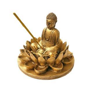 蓮の上の仏陀 お香たて アンティークゴールド インセンス アロマセット アジアン雑貨 アジアン バリ雑貨 タイ アロマテラピー|angkasa