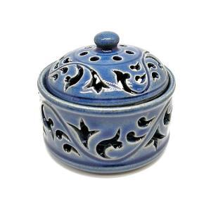 アジアン雑貨 唐草模様の陶器の香炉 小物入れ ブルー インセンスホルダー コーン用お香立て お香たて アジアン バリ雑貨 タイ アロマテラピー|angkasa