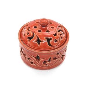 アジアン雑貨 唐草模様の陶器の香炉 小物入れ レッド インセンスホルダー コーン用お香立て お香たて アジアン バリ雑貨 タイ アロマテラピー|angkasa