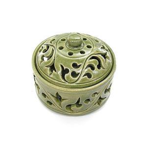 アジアン雑貨 唐草模様の陶器の香炉 小物入れ グリーン インセンスホルダー コーン用お香立て お香たて バリ雑貨 タイ アロマテラピー|angkasa
