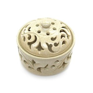 アジアン雑貨 唐草模様の陶器の香炉 小物入れ ホワイト インセンスホルダー コーン用お香立て お香たて アジアン バリ雑貨 タイ アロマテラピー|angkasa