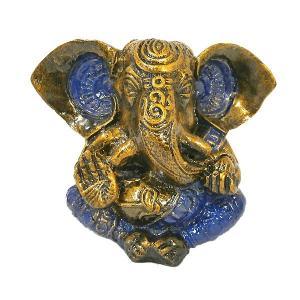 ガネーシャ置物 アンティークゴールド×ブルー  GANESHA 神ガネーシャ[H.約13cm] アジアン雑貨 バリ雑貨 タイ雑貨 |angkasa