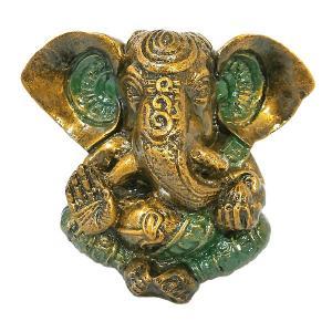 ガネーシャ置物 アンティークゴールド×グリーン  GANESHA 神ガネーシャ[H.約13cm] アジアン雑貨 バリ雑貨 タイ雑貨 |angkasa