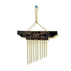 バンブーとアルミパイプの風鈴 ドアチャイム ブラック 手描き模様 おしゃれな 風鈴 きれいな音色 エスニック アジアンインテリア アジアン雑貨 バリ雑貨 タイ |angkasa