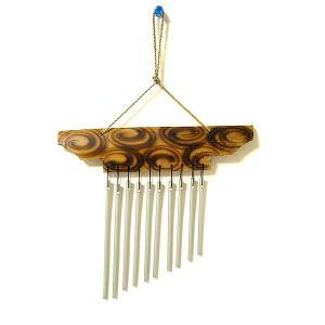 バンブーとアルミパイプの風鈴 ドアチャイム ナチュラル 手描き模様 おしゃれな 風鈴 きれいな音色 エスニック アジアンインテリア アジアン雑貨|angkasa