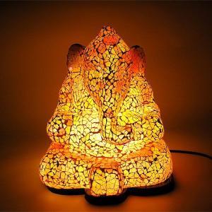 アジアン モザイクのアートランプ ガネーシャ像 [H.約29cm] 黄・オレンジ系 アジアンインテリア アジアンランプ 照明 エスニック|angkasa