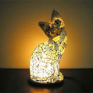 アジアン モザイクランプ バリネコ  [H.約30cm] 白・青 アジアンインテリア アジアンランプ 照明 エスニック|angkasa
